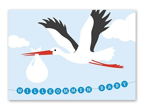 Tante Trudel Karte Baby Storch Junge