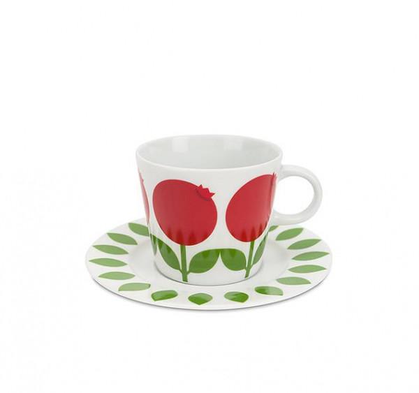 Floryd Kaffe Tasse mit Unterteller Preiselbeere
