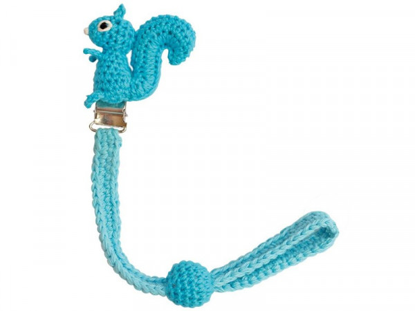 Sindibaba Gehäkelte Schnullerkette Eichhörnchen blau