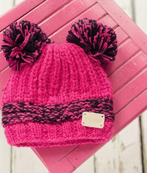 Blade & Rose Wintermütze Pink black Double Bobble Hat