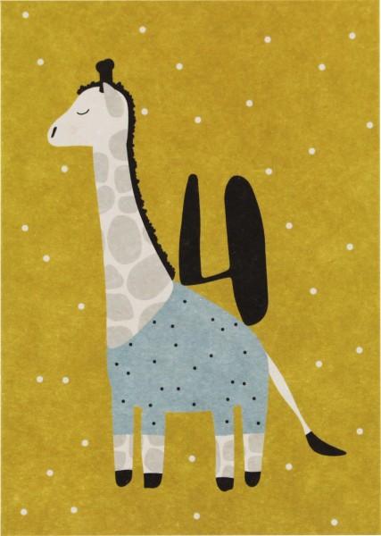 Ava & Yves Postkarte Giraffe - 4 Jahre