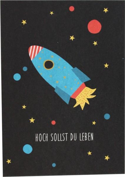 Ava & Yves Postkarte Hoch solltest du leben- Rakete