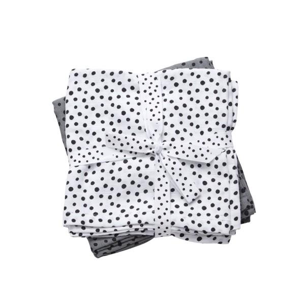 Done by Deer Spucktücher 2-pack Happy dots grau/weiß