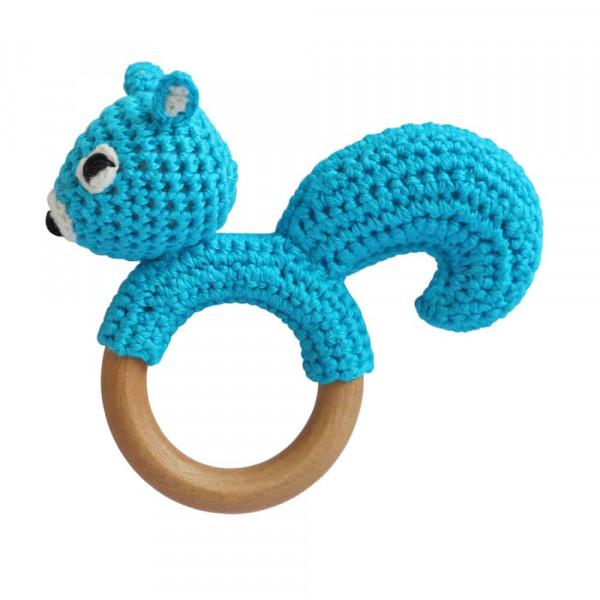 Sindibaba Greifring Eichhörnchen hellblau