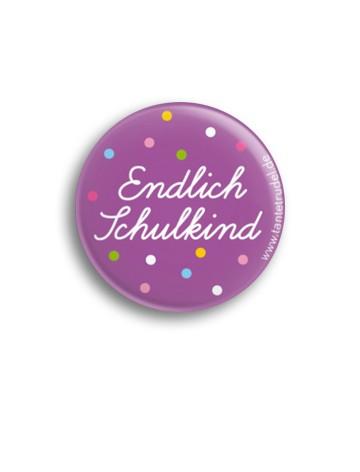 Tante Trudel Button Endlich Schulkind lila