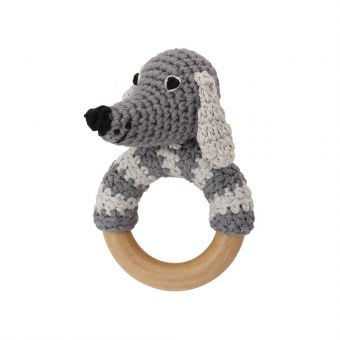 Sindibaba Gehäkelte Hunde-Rassel mit Greifring aus Holz