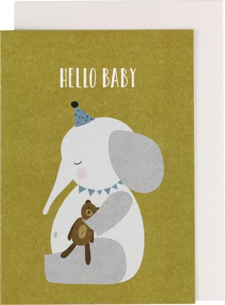"Ava & Yves Klappkarte Elefant ""Hello Baby"""