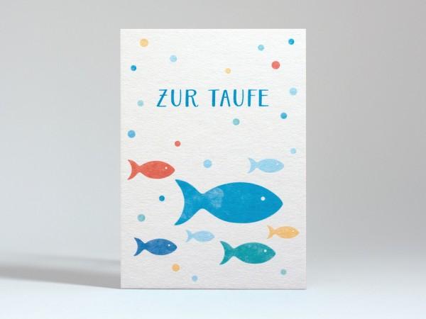 Tante Trudel Karte zur Taufe Fische