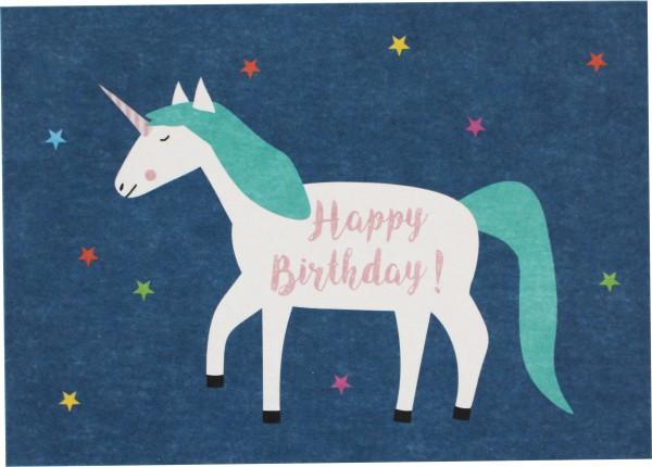 """Ava & Yves Postkarte """"Happy Birthday"""" Einhorn"""