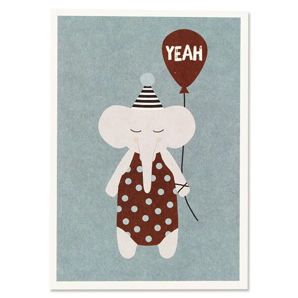 "Ava & Yves Postkarte Elefant mit Hütchen - ""Yeah"""