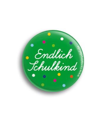 Tante Trudel Button Endlich Schulkind grün