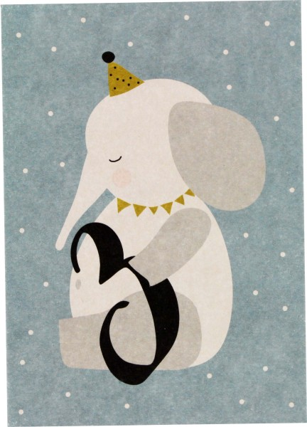 Ava & Yves Postkarte Elefant - 3 Jahre
