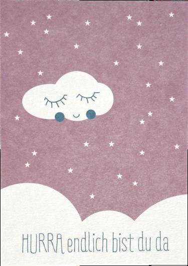 """Ava & Yves Postkarte """"Hurra endlich bist Du da"""" rosa"""