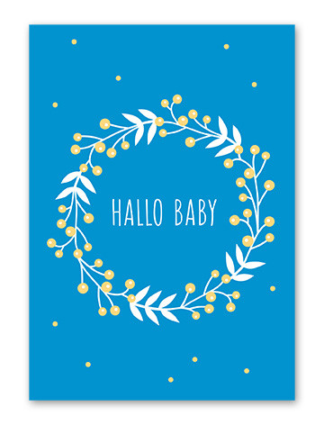 Tante Trudel Karte Hallo Baby blau