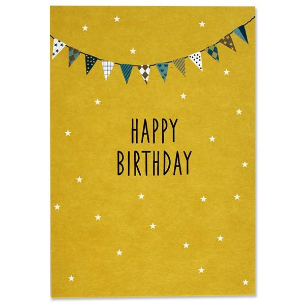 Ava & Yves Postkarte Happy Birthday gelb