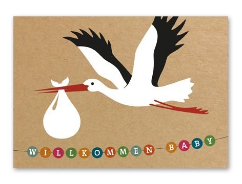 Tante Trudel Karte Willkommen Baby Storch braun