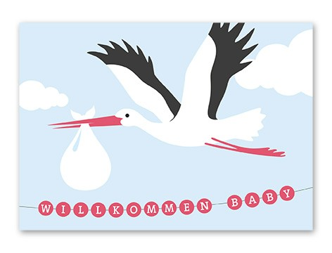 Tante Trudel Karte Baby Storch Mädchen