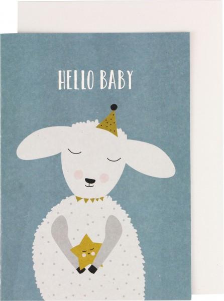 "Ava & Yves Klappkarte Lamm ""Hello Baby"""