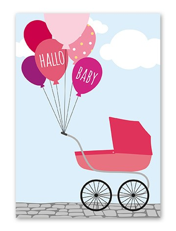 """Tante Trudel Karte """"Baby Balloon Mädchen"""""""