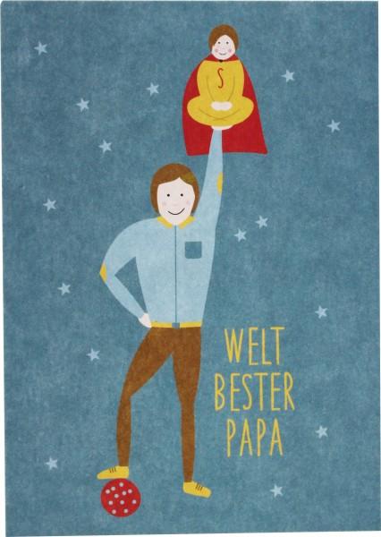 Ava & Yves Postkarte Weltbester Papa - mit Jungen