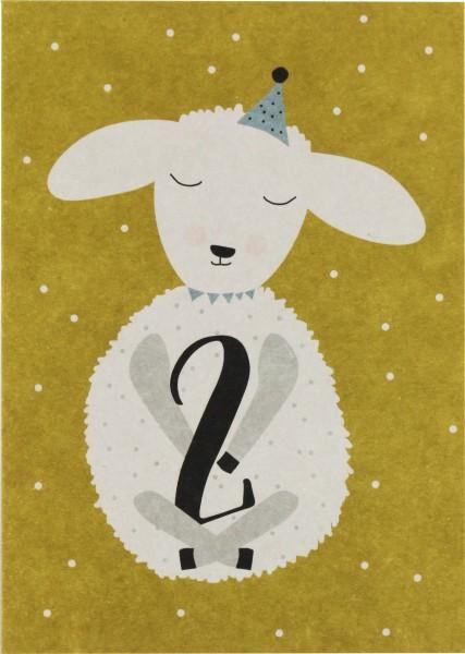 Ava & Yves Postkarte Lamm - 2 Jahre