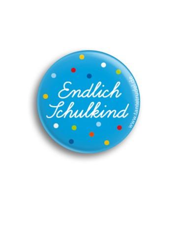 Tante Trudel Button Endlich Schulkind blau