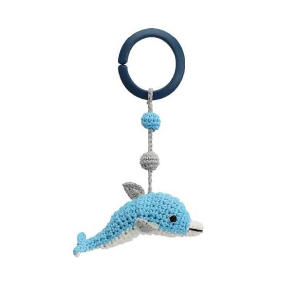Sindibaba Gehäkelter Kinderwagenanhänger Delphin blau