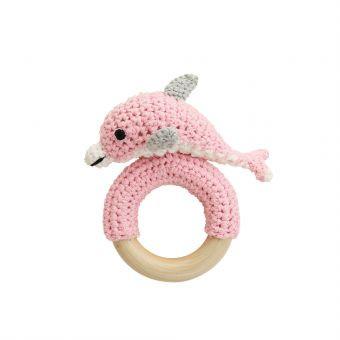 Sindibaba Gehäkelte Delfin-Rassel mit Greifring aus Holz (rosa)