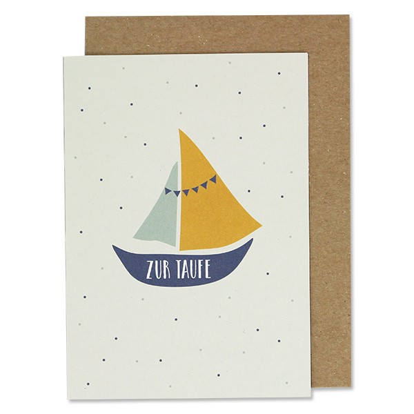 Ava & Yves Klappkarte Schiffchen zur Taufe blau/gelb