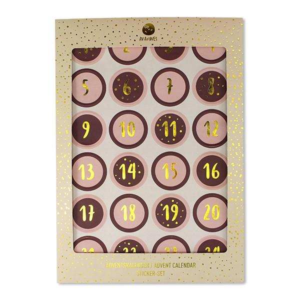 Ava & Yves Adventskalender Sticker rose/aubergine