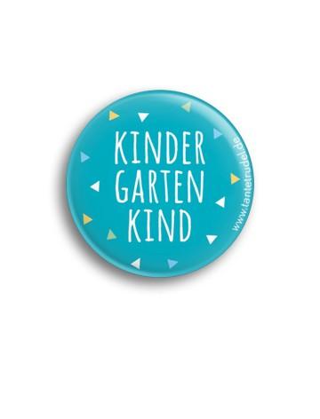 Tante Trudel Button Kindergartenkind blau