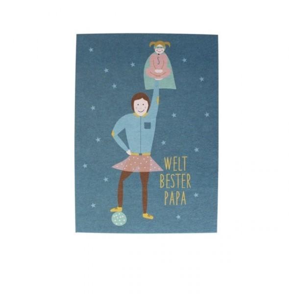Ava & Yves Postkarte Weltbester Papa mit Mädchen
