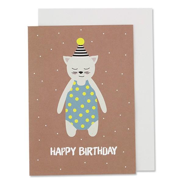 """Ava & Yves Klappkarte Katze mit Hütchen """"Happy BIrthday"""""""