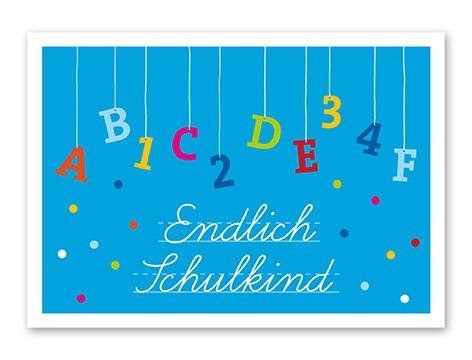 Tante Trudel Karte Endlich Schulkind blau