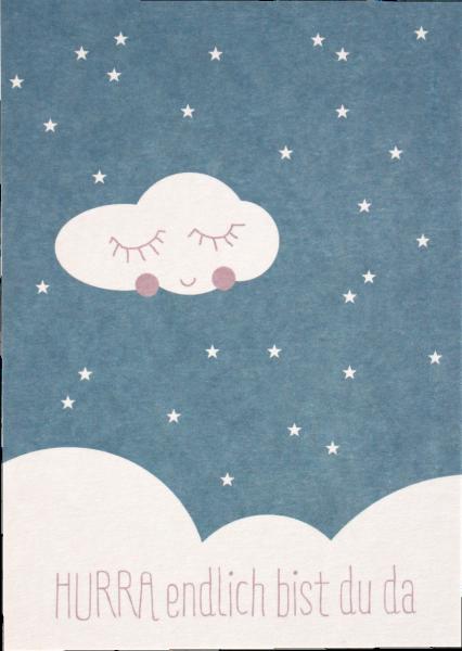 "Ava & Yves Postkarte ""Hurra endlich bist Du da"" blau"