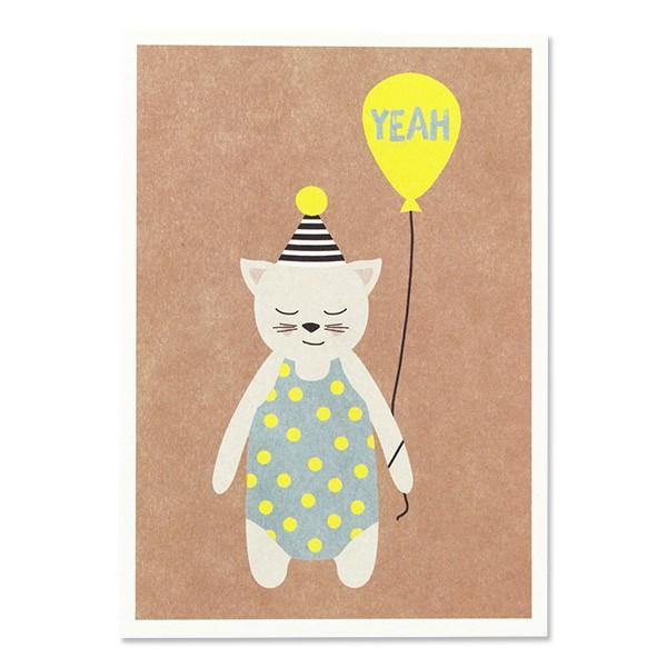 "Ava & Yves Postkarte Katze mit Hütchen - ""Yeah"""